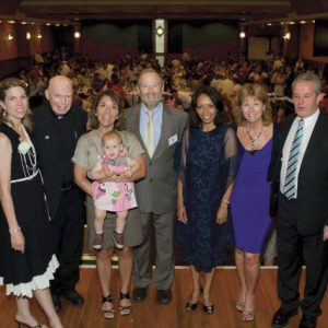 L-R: Peta Evans, Mons.Reilly, Vera Mosher holding Therese Griffin, Steven Mosher, Maria Campos, Christine and Paul Hanrahan